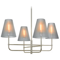 Bistro 4 Light 34 inch Polished Nickel Pendant Ceiling Light