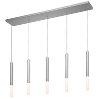 Sonneman Wands 5 Light Pendant in Bright Satin Aluminum 2216.16