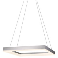 Sonneman Corona 19-inch LED Square Pendant in Bright Satin Aluminum 2304.16