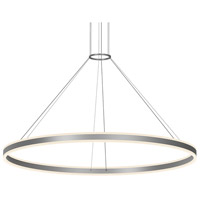 Double Corona LED 59 inch Bright Satin Aluminum Pendant Ceiling Light
