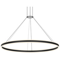 Double Corona LED 59 inch Satin Black Pendant Ceiling Light