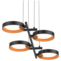 Light Guide Ring LED 38 inch Satin Black Pendant Ceiling Light in Apricot