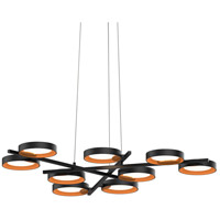Light Guide Ring LED 48 inch Satin Black Pendant Ceiling Light in Apricot