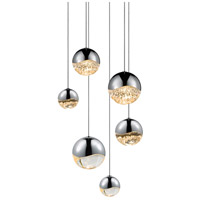 Sonneman 2915.01-AST Grapes LED 12 inch Polished Chrome Cluster Pendant Ceiling Light in Clear Glass Lens