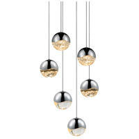 Sonneman 2915.01-MED Grapes LED 11 inch Polished Chrome Cluster Pendant Ceiling Light in Clear Glass Lens