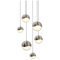 Grapes LED 12 inch Satin Nickel Cluster Pendant Ceiling Light in White Glass