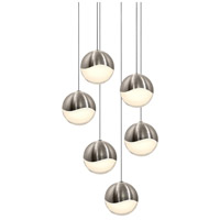 Sonneman 2915.13-LRG Grapes LED 12 inch Satin Nickel Cluster Pendant Ceiling Light in White Glass