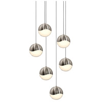 Grapes LED 11 inch Satin Nickel Cluster Pendant Ceiling Light in White Glass