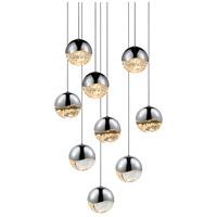 Sonneman 2916.01-MED Grapes LED 13 inch Polished Chrome Cluster Pendant Ceiling Light in Clear Glass Lens