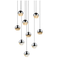 Grapes LED 13 inch Polished Chrome Cluster Pendant Ceiling Light in Clear Glass Lens