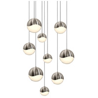Sonneman 2916.13-AST Grapes LED 14 inch Satin Nickel Cluster Pendant Ceiling Light in White Glass