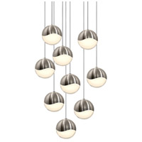 Grapes LED 14 inch Satin Nickel Cluster Pendant Ceiling Light in White Glass