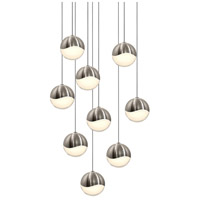 Sonneman 2916.13-MED Grapes LED 13 inch Satin Nickel Cluster Pendant Ceiling Light in White Glass
