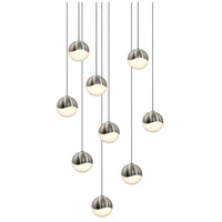 Grapes LED 13 inch Satin Nickel Cluster Pendant Ceiling Light in White Glass