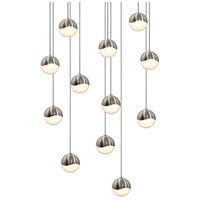 Grapes LED 16 inch Satin Nickel Cluster Pendant Ceiling Light in White Glass