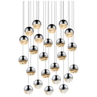 Grapes LED 27 inch Polished Chrome Cluster Pendant Ceiling Light in Clear Glass Lens