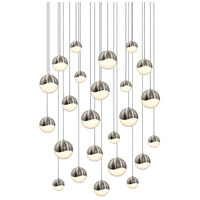 Sonneman 2918.13-AST Grapes LED 27 inch Satin Nickel Cluster Pendant Ceiling Light in White Glass