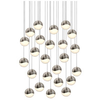 Grapes LED 27 inch Satin Nickel Cluster Pendant Ceiling Light in White Glass