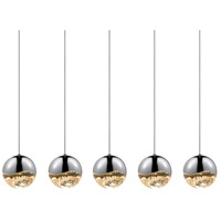 Sonneman Grapes 5 Light LED Cluster Pendant in Polished Chrome 2921.01-LRG