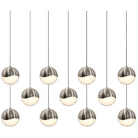 Grapes LED 37 inch Satin Nickel Cluster Pendant Ceiling Light in White Glass