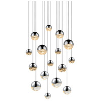 Grapes LED 24 inch Polished Chrome Cluster Pendant Ceiling Light in Clear Glass Lens