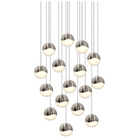 Grapes LED 24 inch Satin Nickel Cluster Pendant Ceiling Light in White Glass