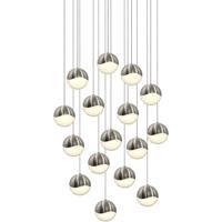 Sonneman 2923.13-LRG Grapes LED 24 inch Satin Nickel Cluster Pendant Ceiling Light in White Glass