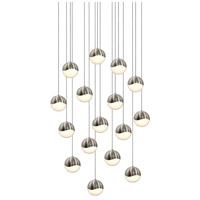 Grapes LED 23 inch Satin Nickel Cluster Pendant Ceiling Light in White Glass