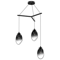 Liquid LED 27 inch Satin Black Pendant Ceiling Light in Smoke Fade Glass