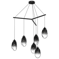 Liquid LED 39 inch Satin Black Pendant Ceiling Light in Smoke Fade Glass