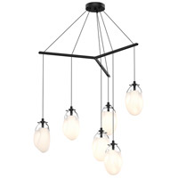 Liquid LED 39 inch Satin Black Pendant Ceiling Light in Poured White Glass