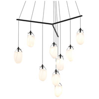Liquid LED 51 inch Satin Black Pendant Ceiling Light in Poured White Glass