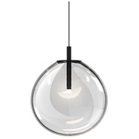 Cantina LED 12 inch Satin Black Pendant Ceiling Light in Clear Glass