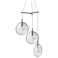 Cantina LED 36 inch Satin Black Pendant Ceiling Light in Clear Glass