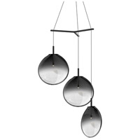 Cantina LED 36 inch Satin Black Pendant Ceiling Light in Smoke Fade Glass