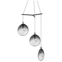 Cantina LED 33 inch Satin Black Pendant Ceiling Light in Smoke Fade Glass
