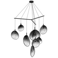 Cantina LED 57 inch Satin Black Pendant Ceiling Light in Smoke Fade Glass