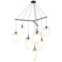 Cantina LED 57 inch Satin Black Pendant Ceiling Light in Poured White Glass