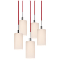 Signature 5 Light 21 inch Polished Chrome Pendant Ceiling Light in Red