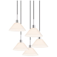 Signature 5 Light 27 inch Polished Chrome Pendant Ceiling Light in Black