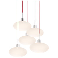 Signature 5 Light 27 inch Polished Chrome Pendant Ceiling Light in Red