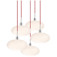 Signature 5 Light 31 inch Polished Chrome Pendant Ceiling Light in Red