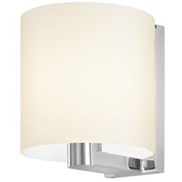 Delano 1 Light 8 inch Polished Chrome Sconce Wall Light in White Etched Glass