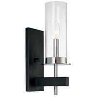 Sonneman Tuxedo 1 Light Sconce in Polished Chrome and Black 4060.54