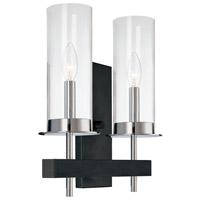 Tuxedo 2 Light 11 inch Polished Chrome and Black Sconce Wall Light
