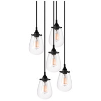 Sonneman Chelsea 5 Light Pendant in Satin Black 4295.25