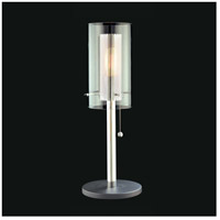Sonneman Zylinder 1 Light Table Lamp in Polished Chrome and Satin Black 4392.57