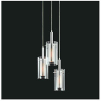 Sonneman Zylinder 3 Light Pendant in Polished Chrome and Satin Black 4395.57