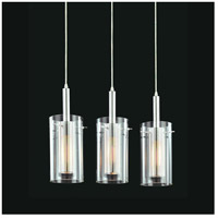 Sonneman Zylinder 3 Light Pendant in Polished Chrome and Satin Black 4396.57