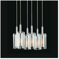 Sonneman Zylinder 6 Light Pendant in Polished Chrome and Satin Black 4398.57